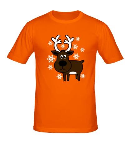 Мужская футболка Олень со снежинками
