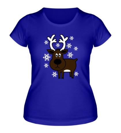 Женская футболка Олень со снежинками