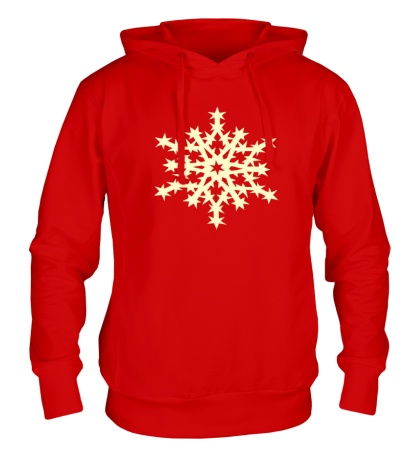 Толстовка с капюшоном Остроконечная снежинка свет