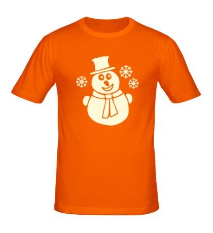 Мужская футболка Веселый снеговик свет