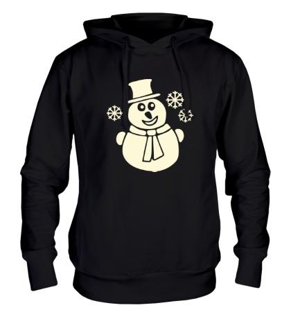 Толстовка с капюшоном Веселый снеговик свет