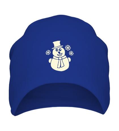 Шапка Веселый снеговик свет