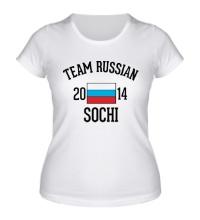 Женская футболка Team russian 2014 sochi