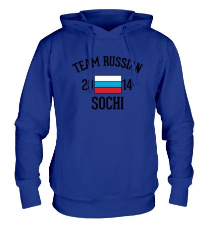 Толстовка с капюшоном Team russian 2014 sochi