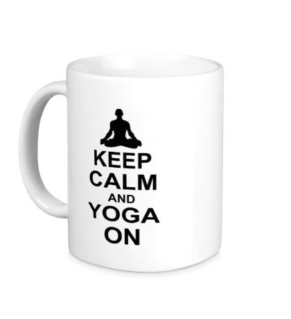 Керамическая кружка Keep calm and yoga on