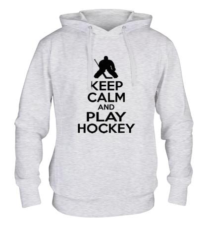 Толстовка с капюшоном Keep calm and play hockey