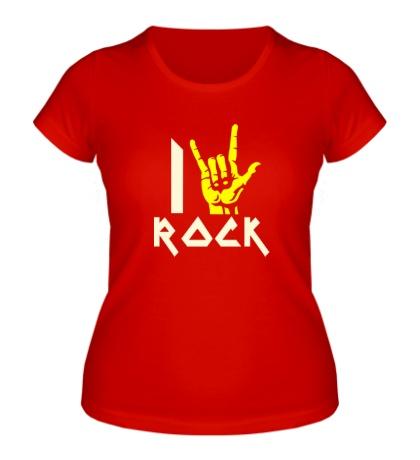 Женская футболка I love rock glow