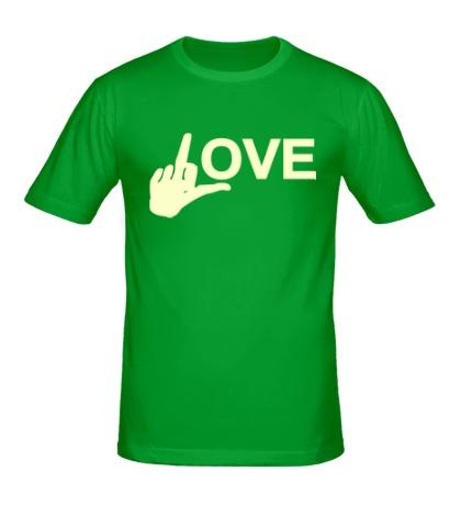 Мужская футболка Fuck love glow