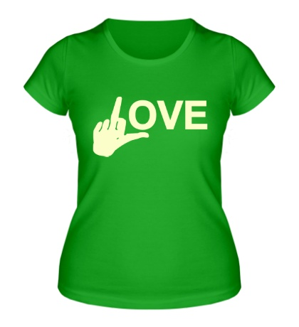 Женская футболка Fuck love glow