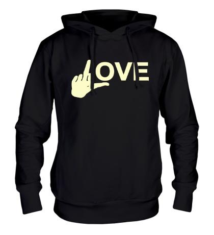 Толстовка с капюшоном Fuck love glow