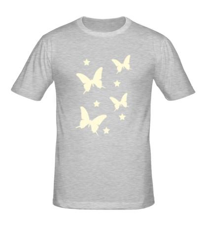 Мужская футболка Светящиеся бабочки