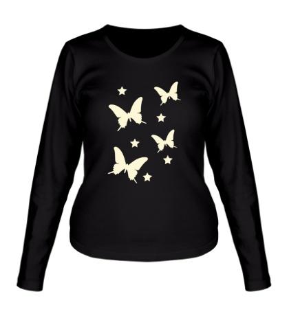 Женский лонгслив Светящиеся бабочки