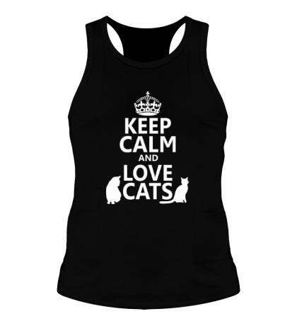 Мужская борцовка Keep calm and love cats.