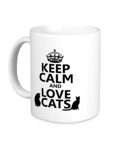 Керамическая кружка Keep calm and love cats.
