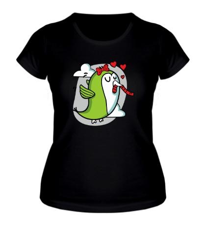 Женская футболка Влюбленные птички, для нее