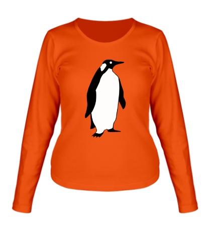 Женский лонгслив Пингвин наблюдает