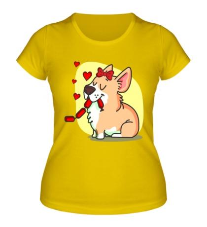 Женская футболка Влюбленные собачки, для нее