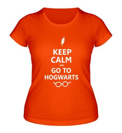 Женская футболка Keep calm and go to hogwarts.
