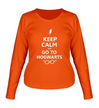 Женский лонгслив Keep calm and go to hogwarts.
