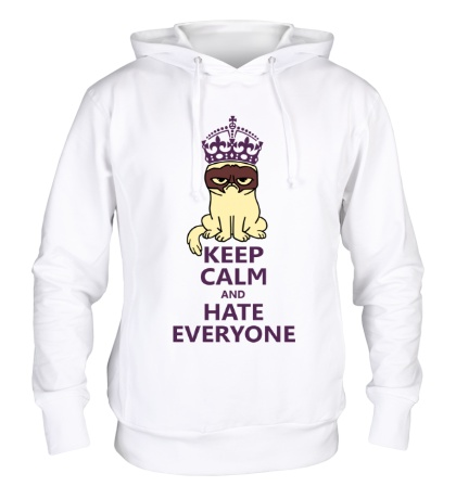Толстовка с капюшоном Keep calm and hate everyone