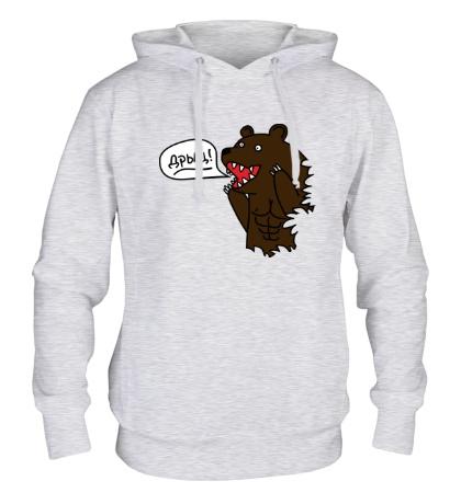 Толстовка с капюшоном Медведь качок