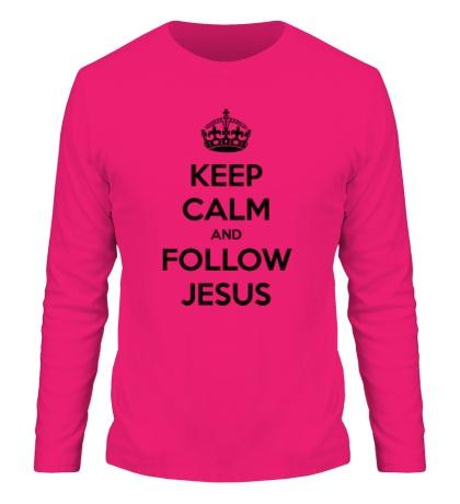 Мужской лонгслив Keep calm and follow Jesus.