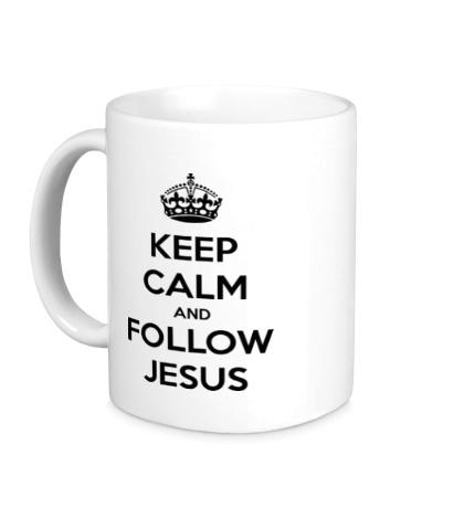 Керамическая кружка Keep calm and follow Jesus.