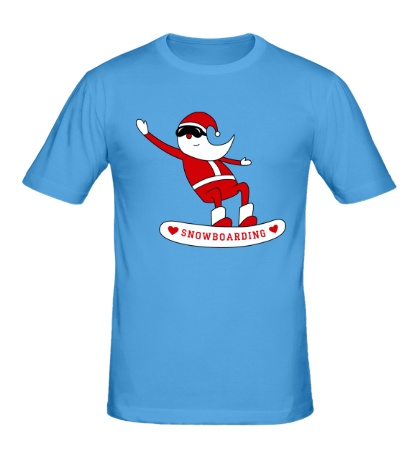 Мужская футболка Санта сноубордист