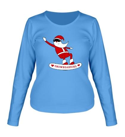 Женский лонгслив Санта сноубордист