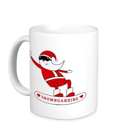 Керамическая кружка Санта сноубордист