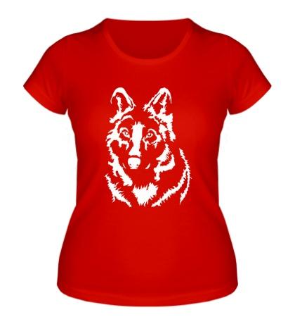 Женская футболка Черный волк