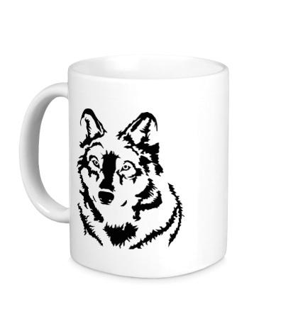 Керамическая кружка Черный волк