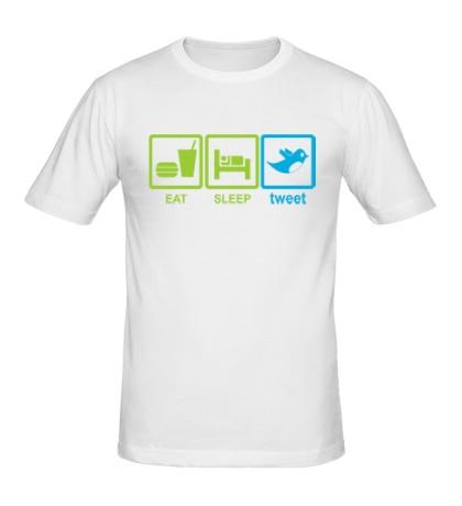 Мужская футболка Eat, sleep, tweet