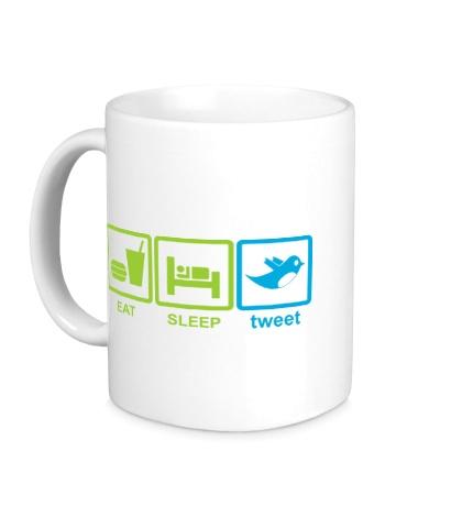 Керамическая кружка Eat, sleep, tweet