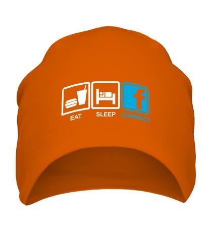 Шапка Eat, sleep, facebook