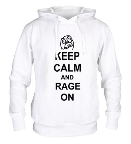 Толстовка с капюшоном Keep calm and rage on