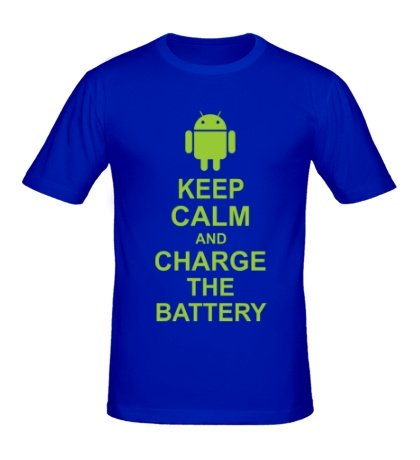 Мужская футболка Keep calm and charge the battery android