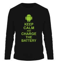 Мужской лонгслив Keep calm and charge the battery android