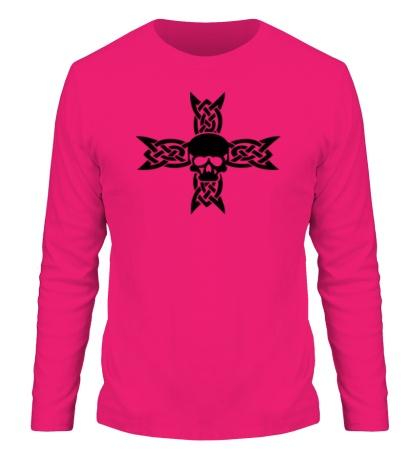 Мужской лонгслив Череп на кельтском кресте