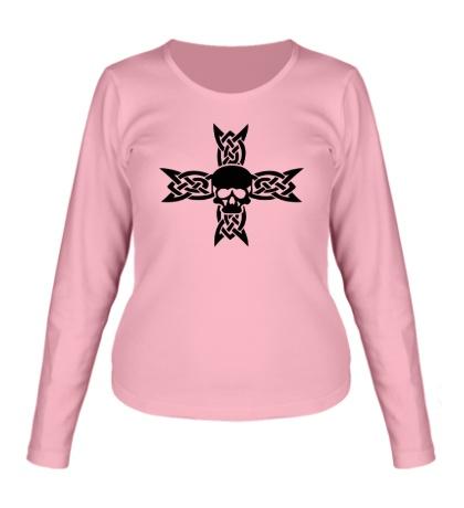 Женский лонгслив Череп на кельтском кресте
