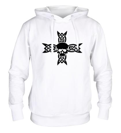 Толстовка с капюшоном Череп на кельтском кресте