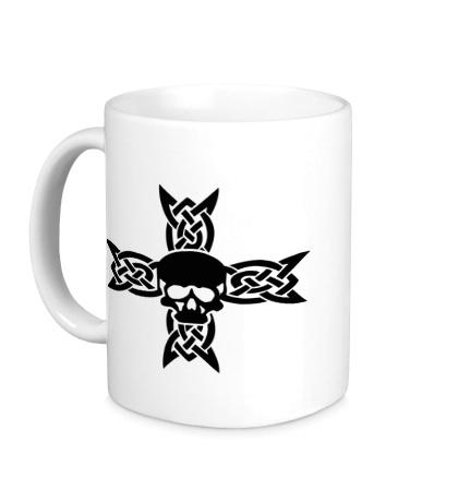 Керамическая кружка Череп на кельтском кресте