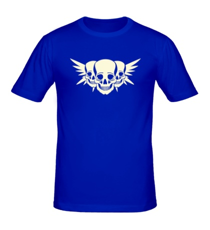 Мужская футболка Три черепа с крыльями свет