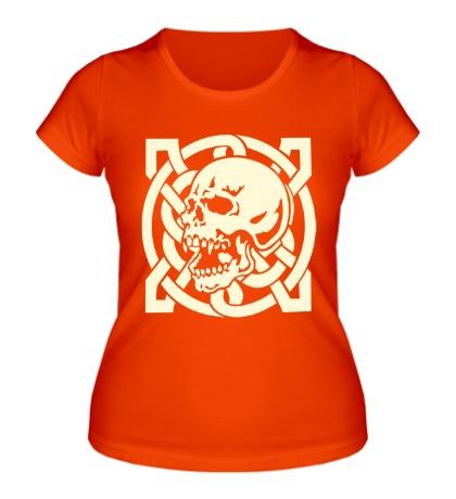 Женская футболка Кельтский череп, свет