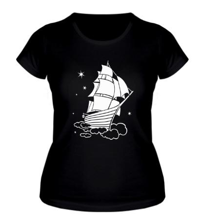 Женская футболка Корабль в небе