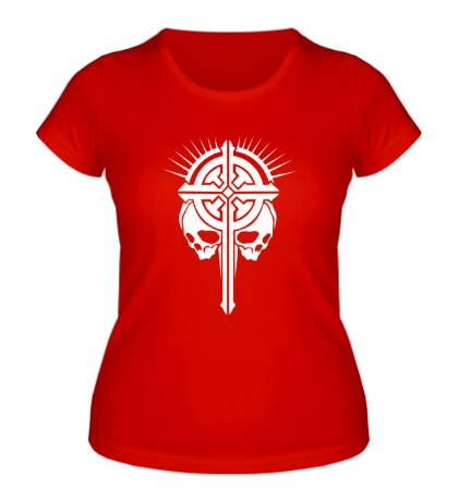 Женская футболка Крест с черепами