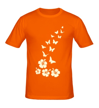 Мужская футболка Бабочки и цветы свет