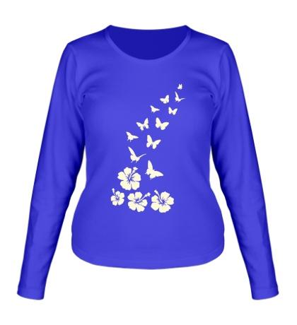Женский лонгслив Бабочки и цветы свет