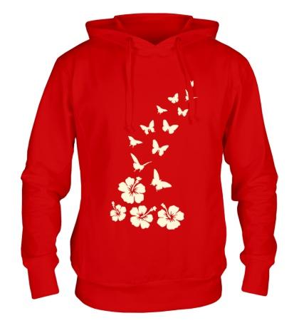 Толстовка с капюшоном Бабочки и цветы свет