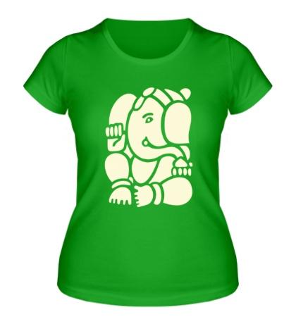 Женская футболка Ганеша Ганапати, свет